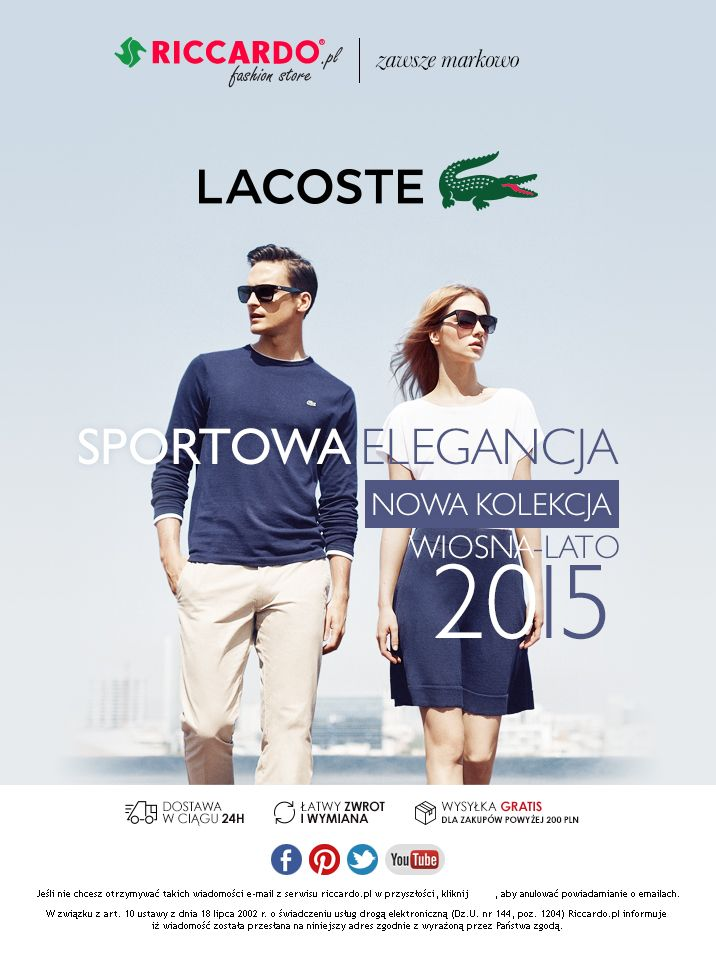 Lacoste - email campaigns for Riccardo.pl