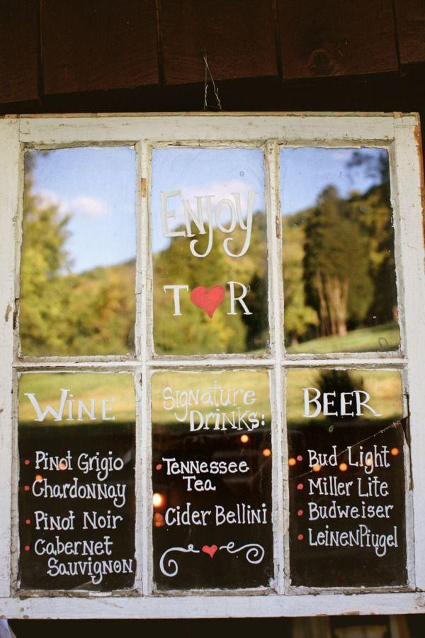 Window: Signature Drinks, Drinks Menu, Menu Boards, Cute Ideas, Vintage Window, Old Window, Window Panes, Bar Menu, Window Frames