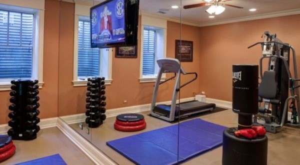 TV, yoga, punching bag, exercise ball, weight set, tred climber, adjustible bench, leg machine, arm machine, abs, gluts