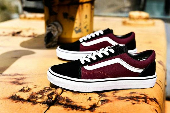 Vans Classic Old Skool Wine Red Black White CQ41 Skate Shoe ...