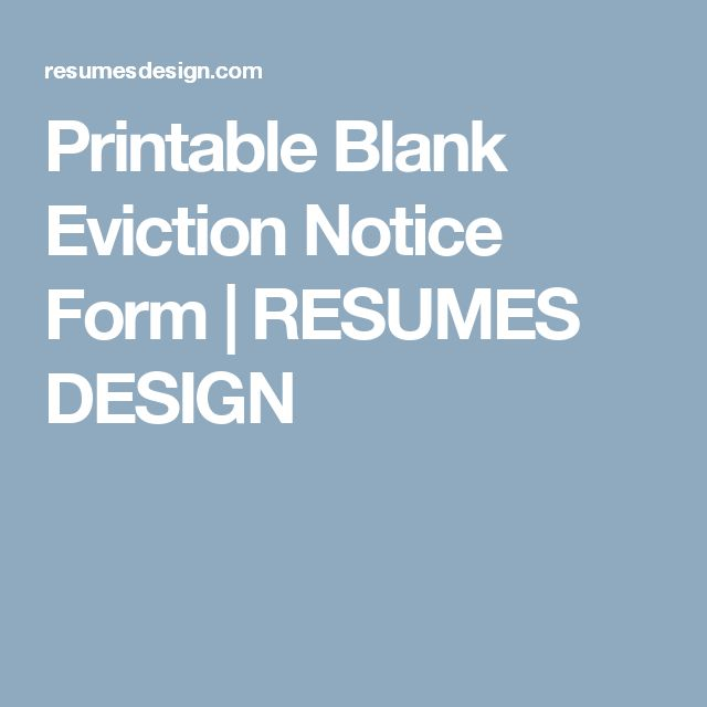 Printable Blank Eviction Notice Form | RESUMES DESIGN