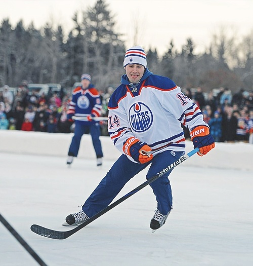 Jordan Eberle during the Edmonton Oilers outdoor shinny game! Probably one of my favourite players in the game right now!
