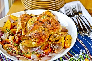 Garlic-Butter Rubbed Chicken with Roasted Oranges and Red Onions by Full Fork Ahead, via Flickr