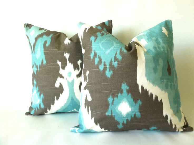 Aqua Taupe Pillow Cover - 16 x 16, One, Blue Brown Pillow, Ikat Pillow, Beach Pillows, Ikat Cushions, Modern Decorative Pillow Covers by TheSeafoamCottage on Etsy https://www.etsy.com/listing/190677856/aqua-taupe-pillow-cover-16-x-16-one-blue