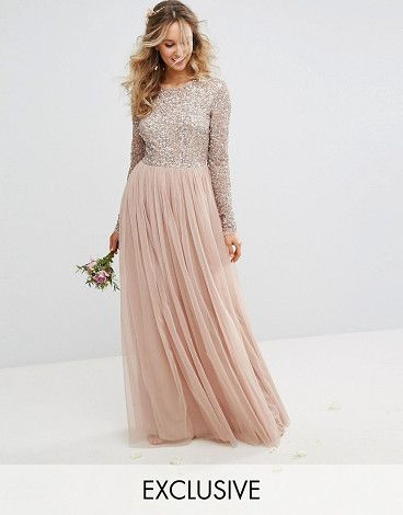 """Long Sleeved Maxi Dress with Delicate Sequin and Tulle Skirt by Maya. """"""""Maxi dress by Maya, Sequin embellished fabric, Long sleeves, Tulle skirt, Zip-back fastening, Regular fit - true to size, Hand wash, 100% Polyester, Our model wears a UK 8/EU 36/US 4 and is 173cm/5'8"""" tall, Take care to avoid snagging ... #maya #dresses #gowns"""