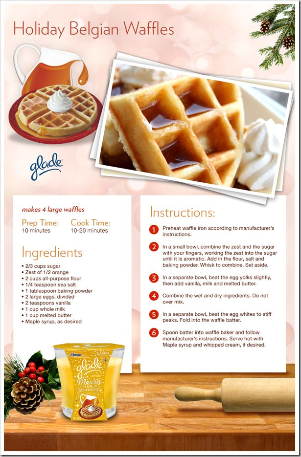 Holiday Belgian Waffles. This is a phenomenal recipe! I would reccomend warming the milk a little, adding hot butter to cold things makes it chunky. Will certainly make these again!