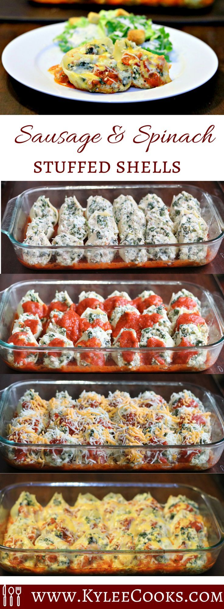 Large pasta shells, stuffed with ricotta, spinach, sausage and ... more cheese, these stuffed shells are a make ahead/freezer cooking DREAM. Packed full of flavor, this is a family friendly, freezer friendly, wallet friendly favorite!