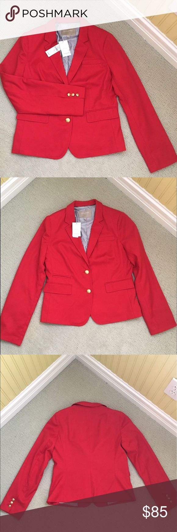 🆕Banana Republic Red Blazer Banana Republic Red Blazer, NEW with tags, NEVER worn! Perfect condition, comfortable, soft yet structured. Lining on inside is blue and white stripe. A Classic price for your wardrobe, this blazer can be worn professionally over a skirt or pantsuit, or make it casual with a solid Tshirt and jeans. Banana Republic Jackets & Coats Blazers