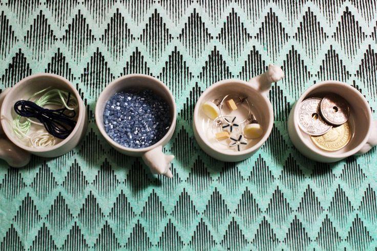 small ceramic fox-contanier on screen printed cotton