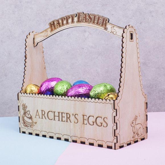 110 best hardtofind easter gifts images on pinterest easter gift personalised wood easter egg hunt basket hardtofind negle Gallery