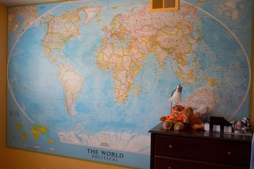 Pin by stephanie george on boy room pinterest for Classic world map wall mural