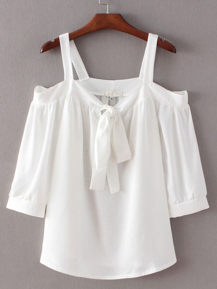 Shop White Tie-neck Bow Open Shoulder Blouse online. SheIn offers White Tie-neck Bow Open Shoulder Blouse & more to fit your fashionable…