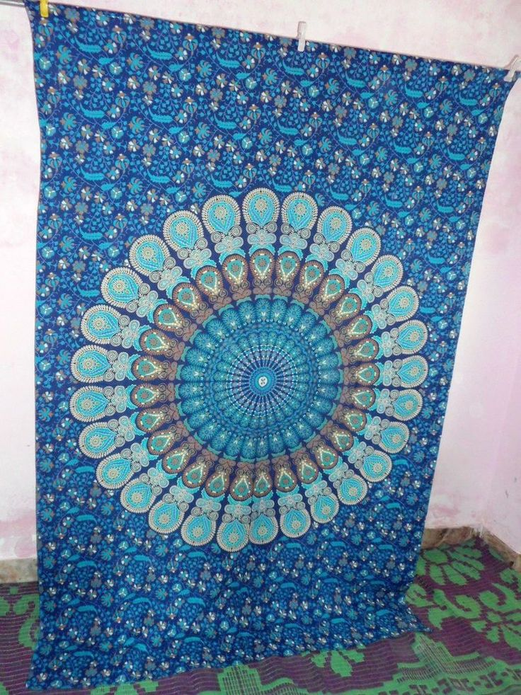 Indian bedspread Wall Hanging tapestry Bedspread Throw Hippy home wall Decor art #Handmade