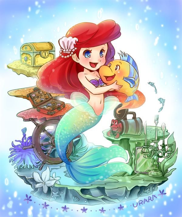 Ariel & Flounder surrounded by a small amount of Treasure