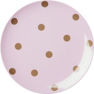 Talerz melaminowy różowy polka dot