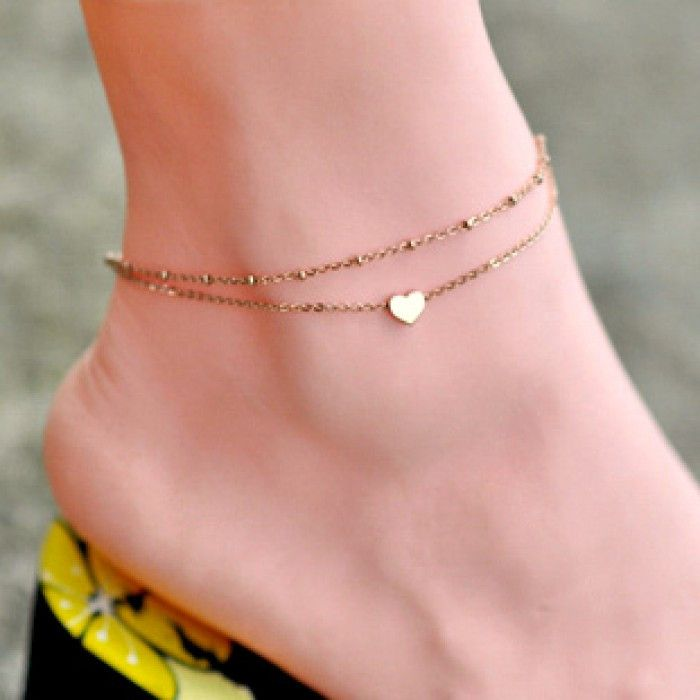 Double Gold Tone Heart Anklet