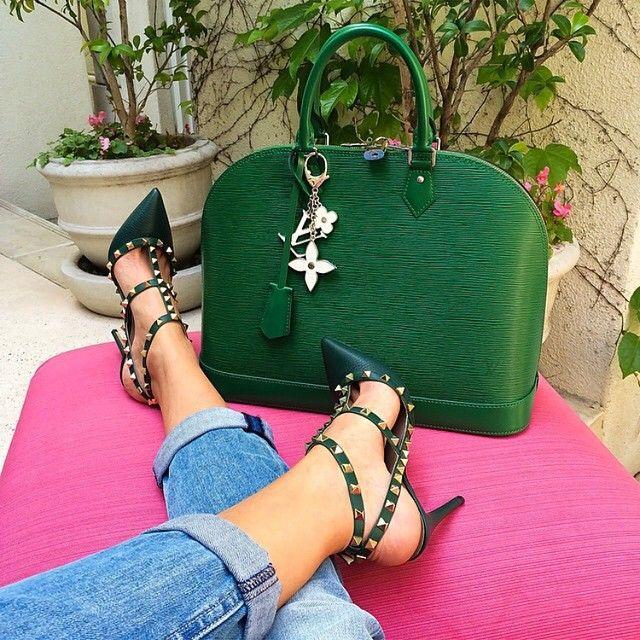 Louis Vutton Designer Handbag Green Fashion