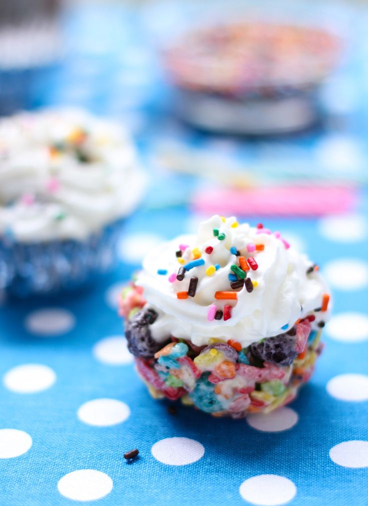 No-Bake Fruity Cereal Treat CupFakes.  Recipe is same as rice krispy treats, with a squirt of whip cream on top.  Fun.