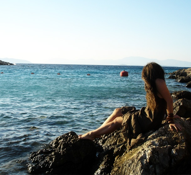 maxi dress in the sea