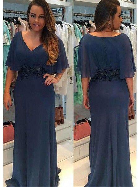 57e6c3f14 Elegant V-Neck Long Mother of The Bride Dresses 99605119