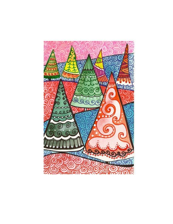 Christmas Trees Original whimsical watercolor by sublimecolors, $29.99