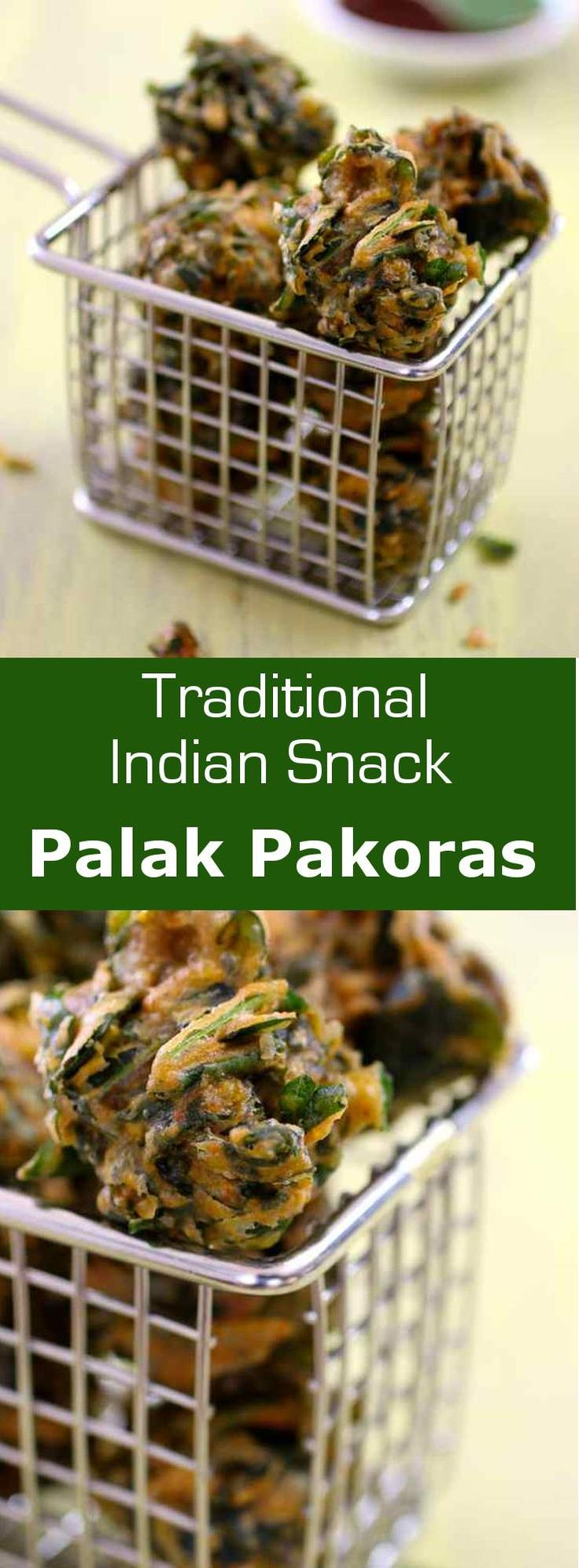 Palak pakoras are Indian fritters prepared with spinach and chickpea flour. #vegetarian #vegan #glutenfree #india #196flavors
