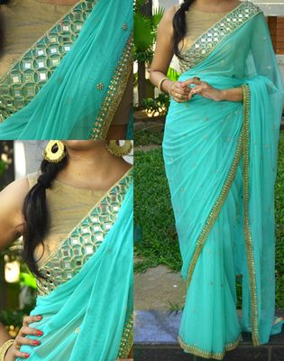 Turquoise Embroidered Georgette Saree With Blouse Bollywood Sarees Online on Shimply.com