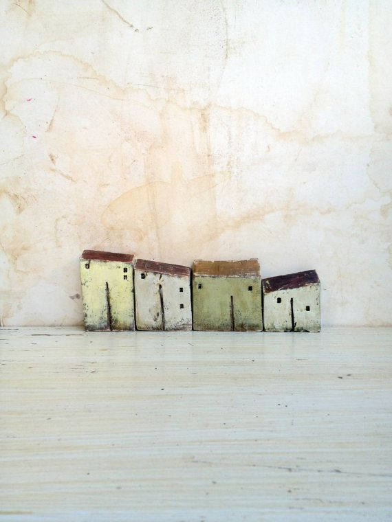 Set of 4 ceramic yellow houses in a row  by VesnaGusmanClayArt