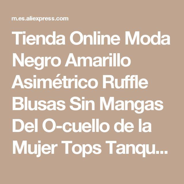 Tienda Online Moda Negro Amarillo Asimétrico Ruffle Blusas Sin Mangas Del O-cuello de la Mujer Tops Tanque de la Camisa de Cultivos de Verano Cremallera Trasera Corta Blusa Entallada | Aliexpress móvil