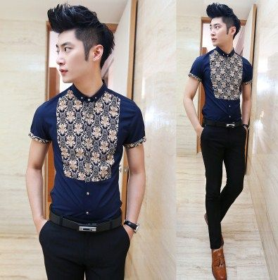Recommend Promotion 2014 Fancy Print Splicing Slim Fit Short Sleeve Mens Fashion Shirts  $24.88
