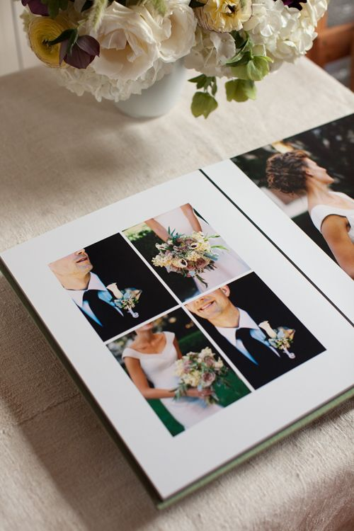 Lindsey and Scott's sage green silk album by @cypressalbums . Photography by Karen Wise