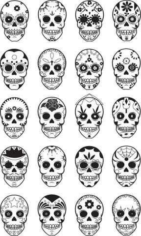 Sugar Skulls, I think I may have to pick up some face paint for the kids and use this as a reference! Love it.