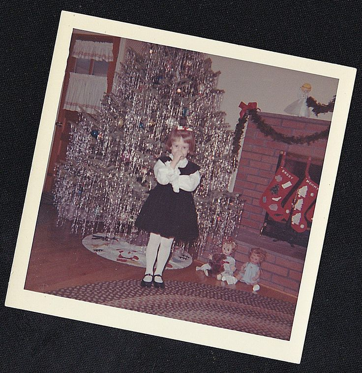 Старая винтажная фотография милой маленькой девочки стоя перед рождественская елка | eBay