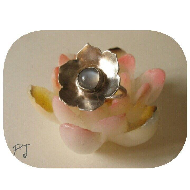 Lotus ring | moonstone ring | silver lotus ring |handmade by Padma Jewels