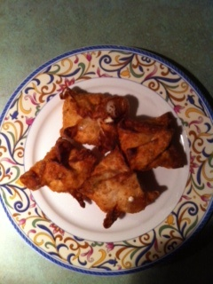 Homemade Crab Rangoons - Yield: 44 - 48 Crab Rangoon    Filling:  8 ounces cream cheese; 8 ounces fresh crab meat or canned crab meat, drained and flaked; 1/2 tsp. Lea & Perrins Worcestershire sauce; 1/2 tsp. light soy sauce; 1/8 - 1/4 tsp. freshly ground white pepper, to taste; 1 to 1 1/2 green onions, finely sliced; 1 large clove garlic, finely minced; 1 package wonton wrappers; 1 small bowl filled with water for wetting wontons and oil for deep-frying (I use a small pan and flip them, so…