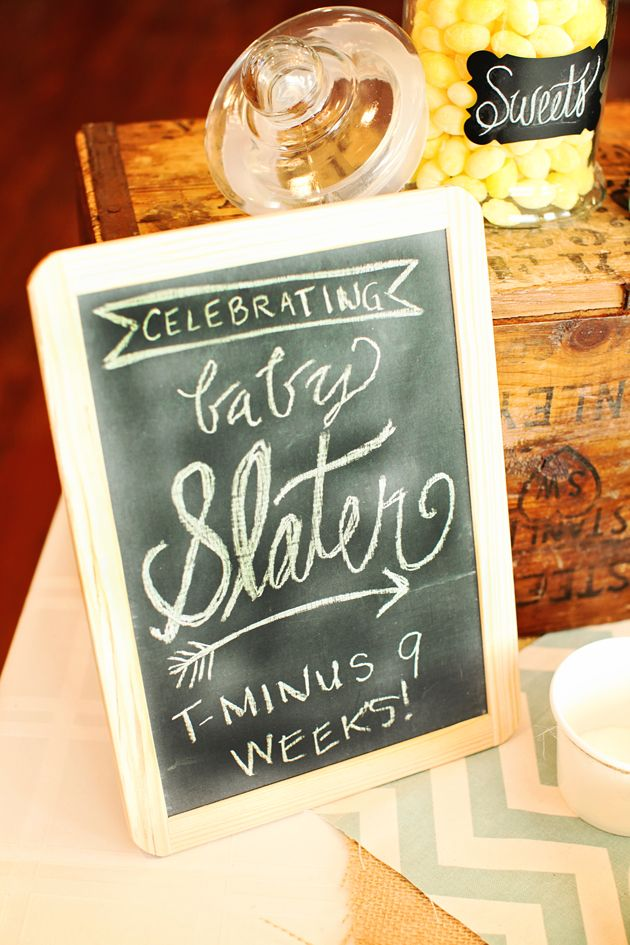 i know this is for a baby shower but just an idea on simple wood pic frame chalkboard...could add something like this to the sweets table or the bar or the hors d'oeuvres bar