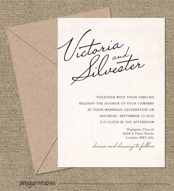 Vintage Wedding Invitations Elegant Script By Artsyprintables 40 00