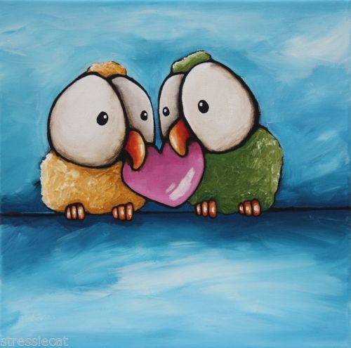 Love birds #whimsicalbirds #stressiecat Original-acrylic-painting-canvas-whimsical-animal-love-birds-big-eyes-heart