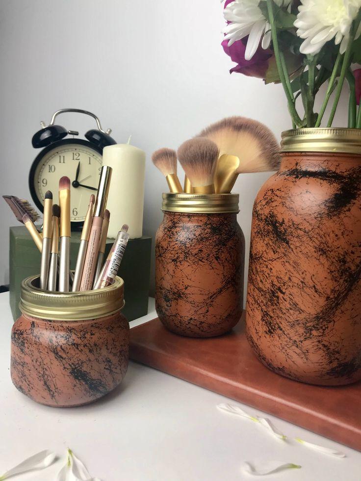 Brown Marble Vase Makeup brush holder Desk organizer