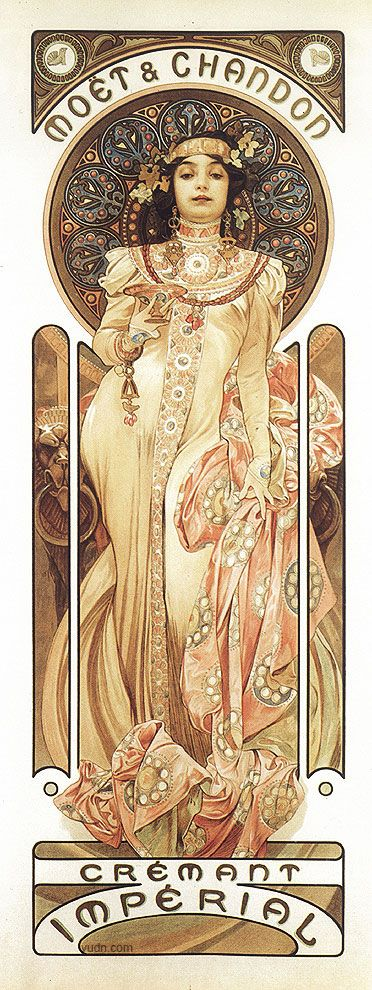 "Alphonse Mucha (Czech, 1860 - 1939). Poster for ""Moet & Chandon: Dry Imperial"", 1899. Color Lithograph, 60 x 20 cm."
