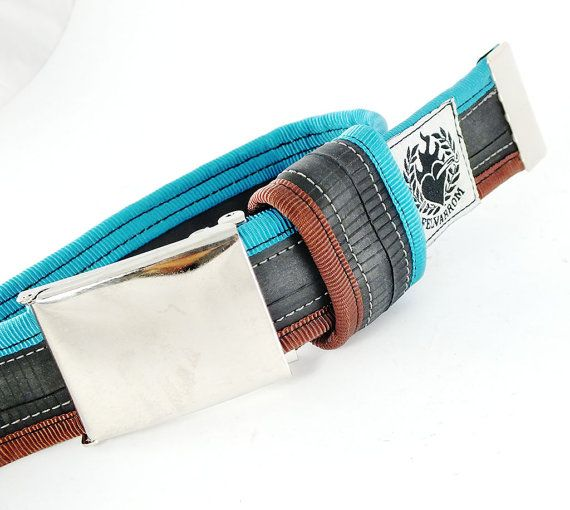 punctured 2 tourqouise / dark brown  #recycled #upcycled #inerube #belt for 34 USD by felvarrom