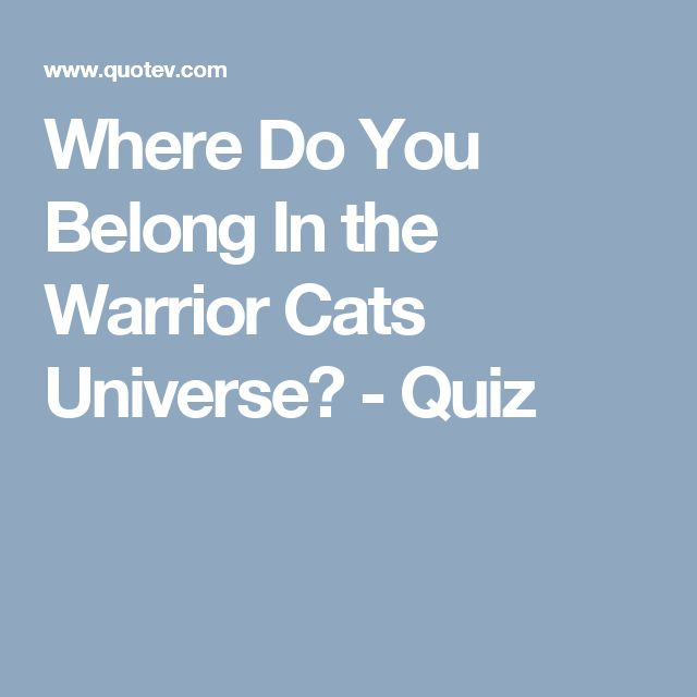 Where Do You Belong In the Warrior Cats Universe? - Quiz
