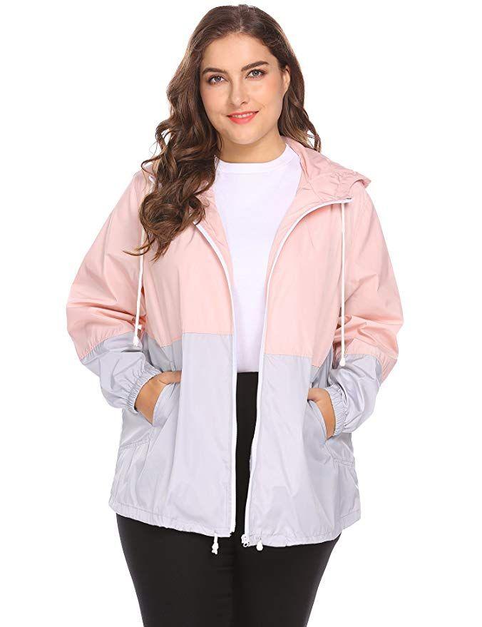 649b6139107 IN VOLAND Women s Plus Size Rain Jacket Lightweight Hooded Waterproof  Active Outdoor Rain Coat