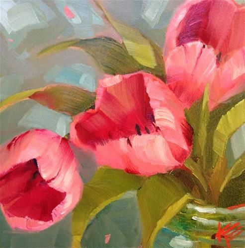 Pink on Teal - Original Fine Art for Sale - © by Krista Eaton
