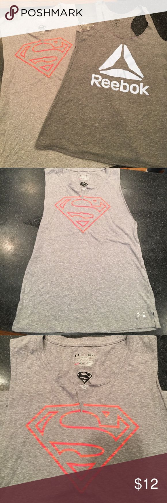 Reebok + Under Armour Tank Bundle! 2 for $10!!!! Reebok and Under Armour Tank Bundle!! 2 for $10!!!! Under Armour Tank size Small. Reebok Tank size XS. BOTH FIT SIZES 2-6 Under Armour Tops Muscle Tees