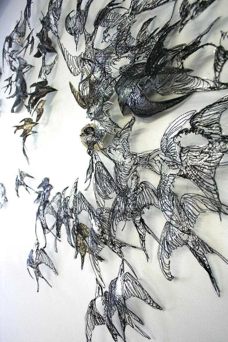 "Leisa Rich- fiber art- ""Mass Hysteria"" in progress- detail. Technique: Free motion stitching, machine embroidery Materials: Vinyl, thread. Cast resin brain by artist. http://monaleisa.com Copyright Leisa Rich"