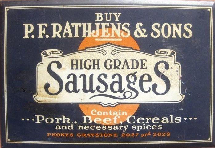 Old Tin Sign Rathjen's Sausages Butcher's Shop   vintage ...