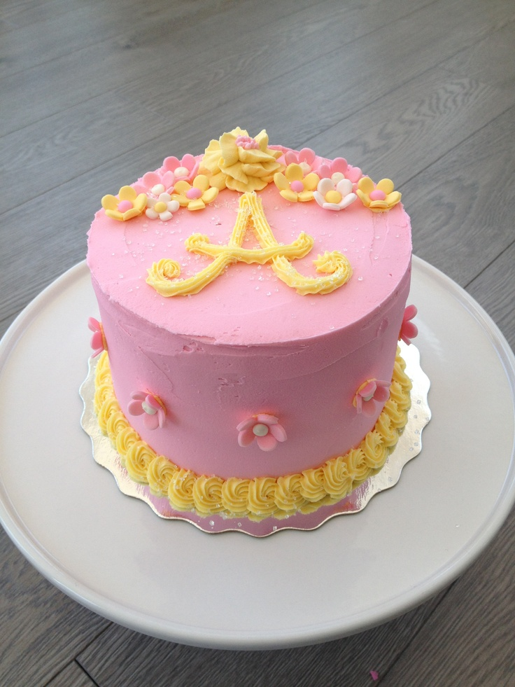 Pink & yellow birthday cake | Grace is 2 | Pinterest