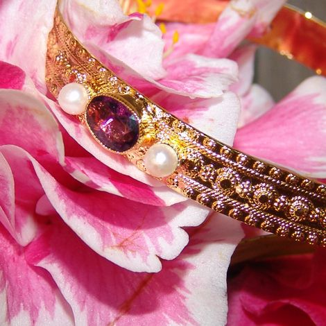 Vintage Bangle set with Freshwater pearls and Amethyst stones dipped in 14ct Yellow Gold