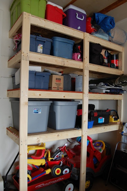 The Polka-Dot Umbrella: Organizing (Part 1) Building Garage Shelves